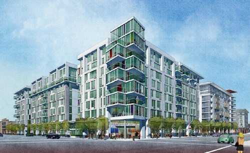 An artist's rendering of a large blue and white building