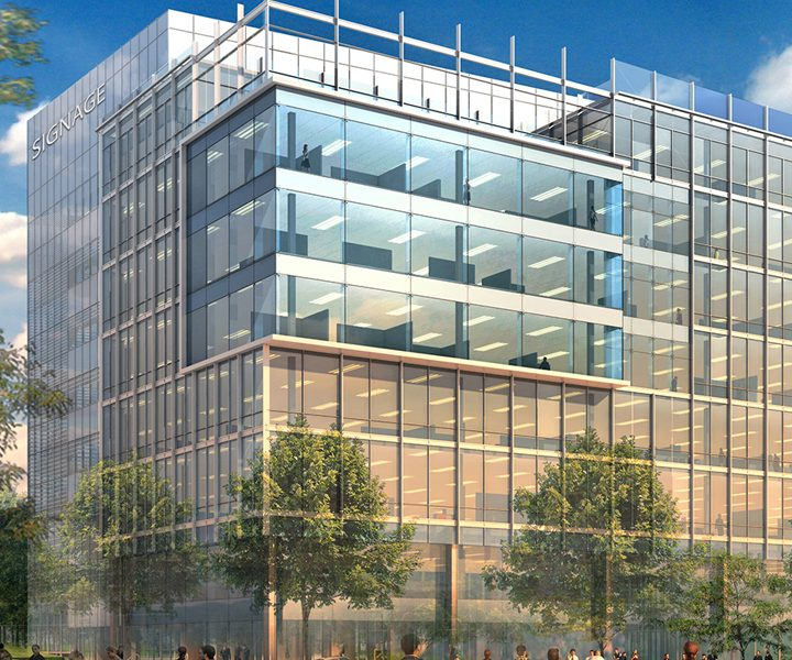 An artist's rendering of a large office building