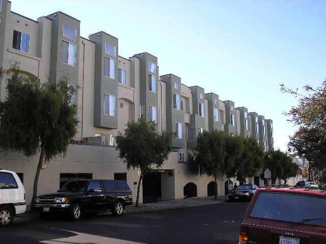 A tan building