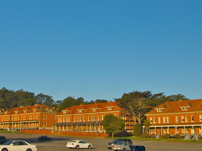 A distant view of a row of red buildings